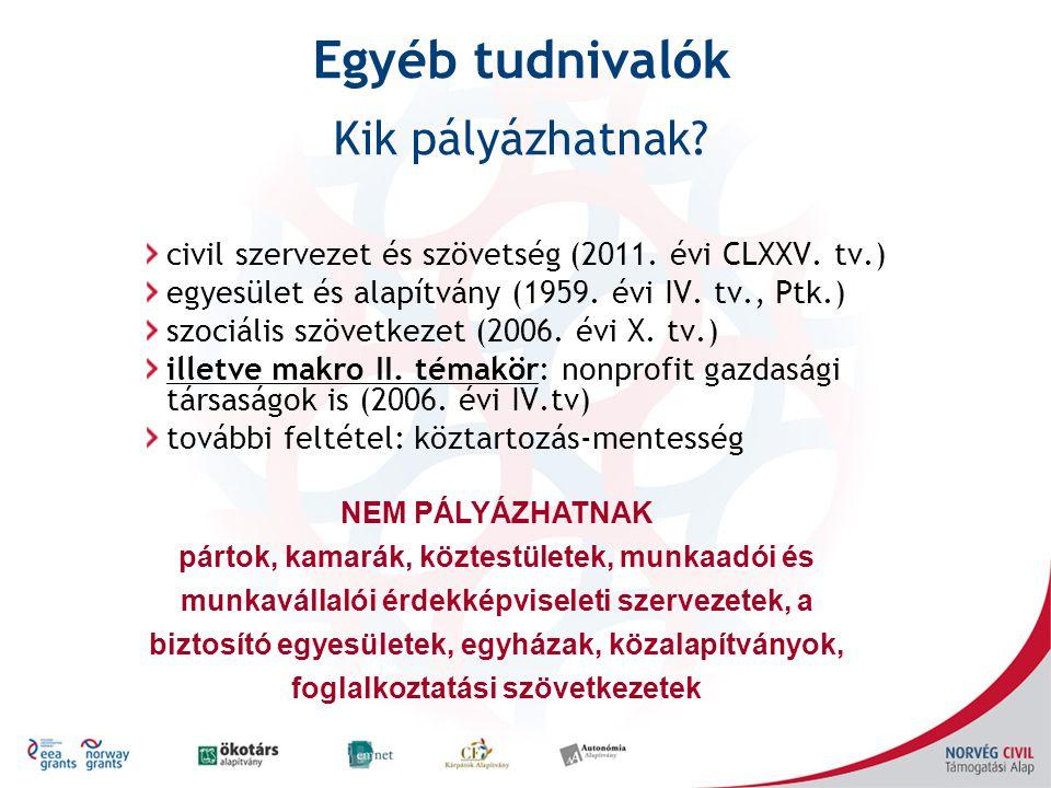 civil szervezet és szövetség (2011. évi CLXXV. tv.) egyesület és alapítvány (1959. évi IV. tv., Ptk.) szociális szövetkezet (2006. évi X. tv.) illetve