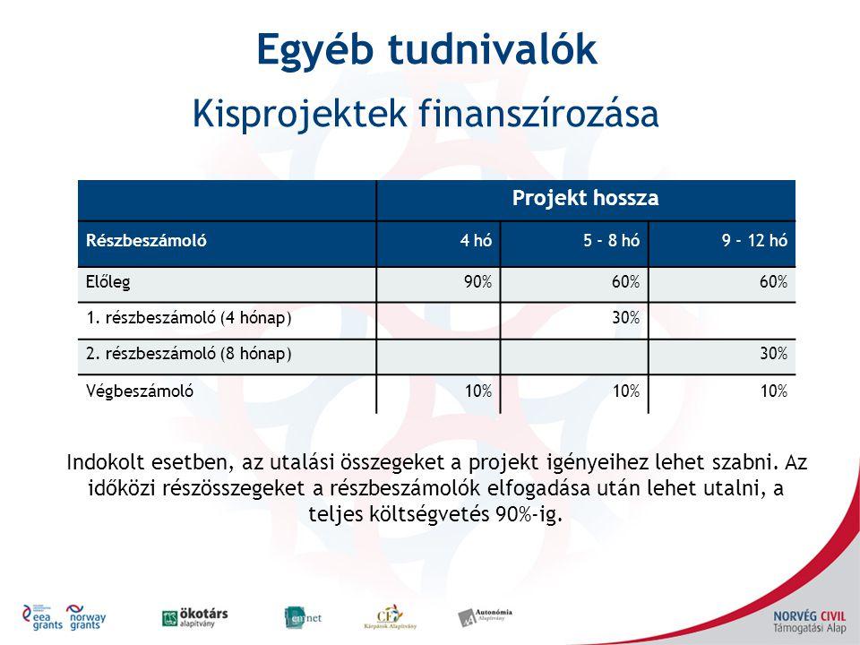 Projekt hossza Részbeszámoló4 hó5 - 8 hó9 - 12 hó Előleg90%60% 1. részbeszámoló (4 hónap)30% 2. részbeszámoló (8 hónap)30% Végbeszámoló10% Indokolt es