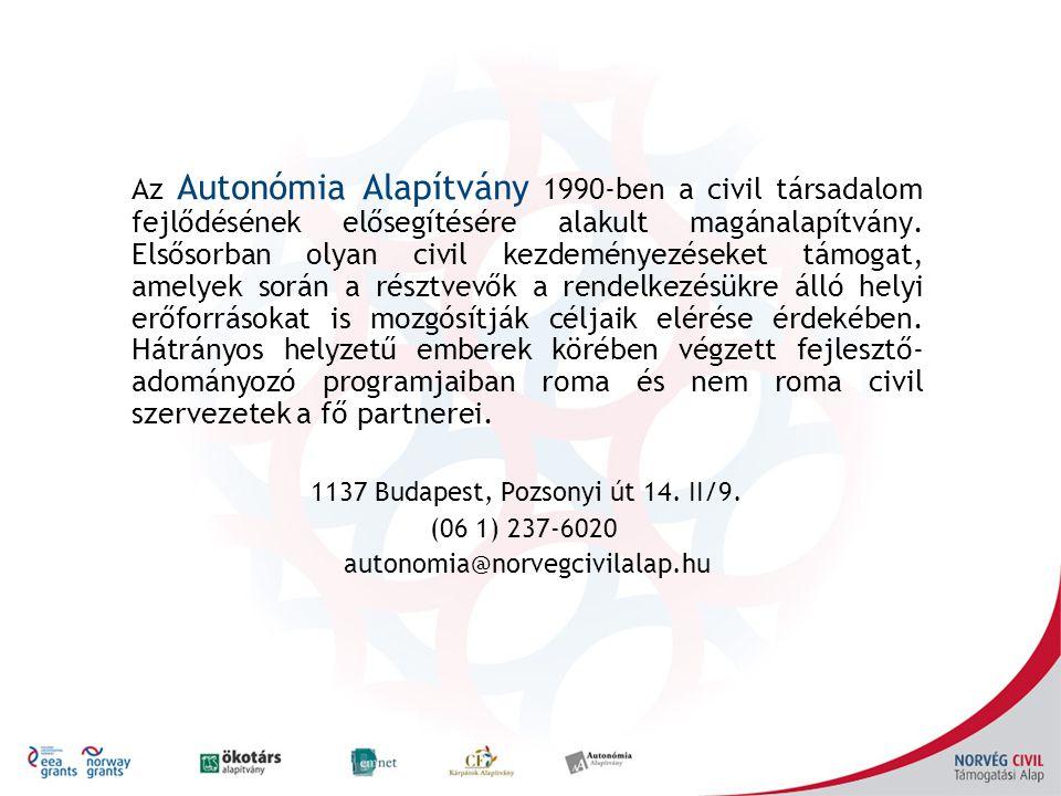 Az Autonómia Alapítvány 1990-ben a civil társadalom fejlődésének elősegítésére alakult magánalapítvány.