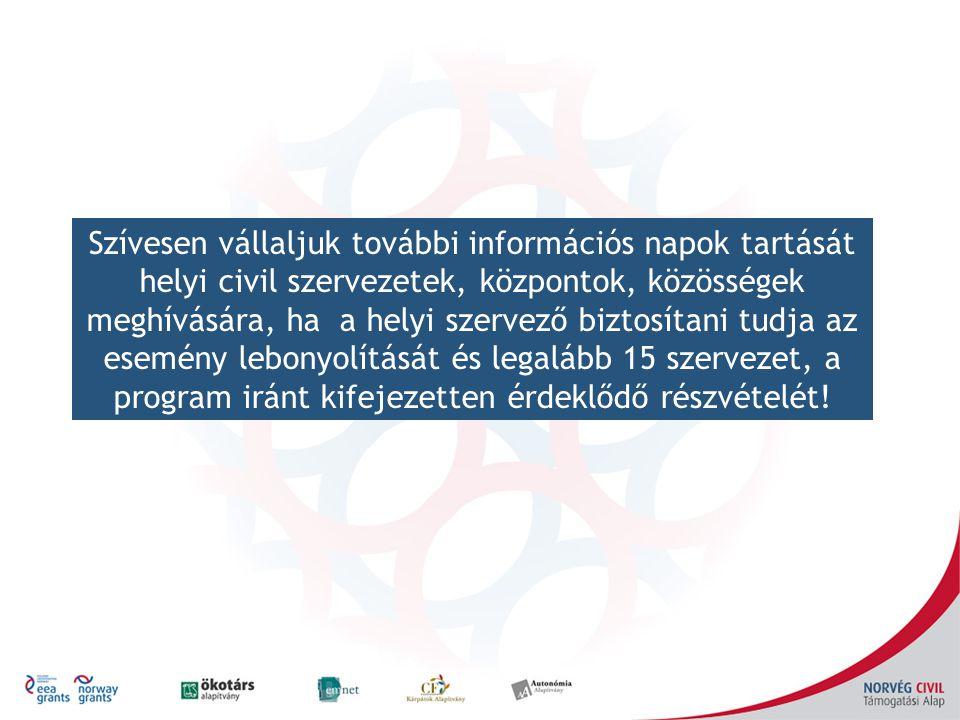 Szívesen vállaljuk további információs napok tartását helyi civil szervezetek, központok, közösségek meghívására, ha a helyi szervező biztosítani tudj