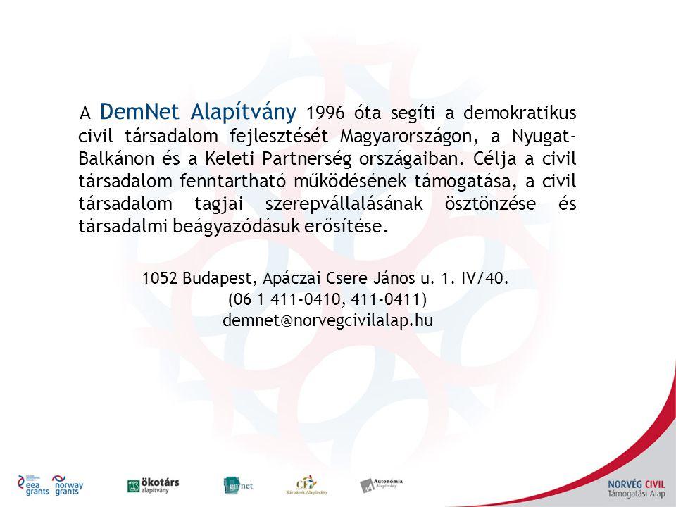 A DemNet Alapítvány 1996 óta segíti a demokratikus civil társadalom fejlesztését Magyarországon, a Nyugat- Balkánon és a Keleti Partnerség országaiban