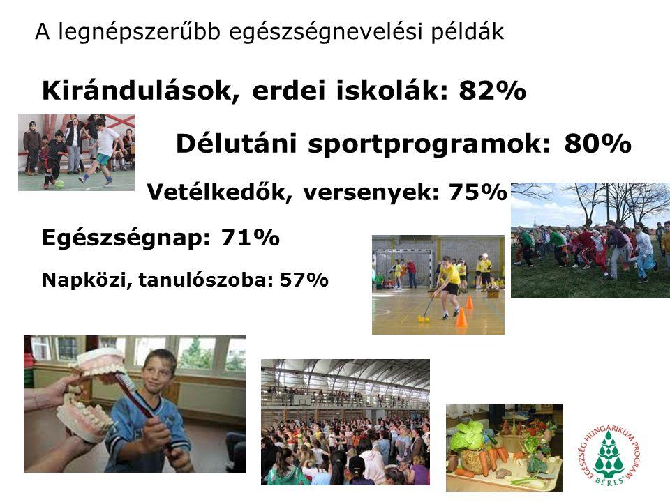 A legnépszerűbb egészségnevelési példák Kirándulások, erdei iskolák: 82% Délutáni sportprogramok: 80% Vetélkedők, versenyek: 75% Egészségnap: 71% Napközi, tanulószoba: 57%