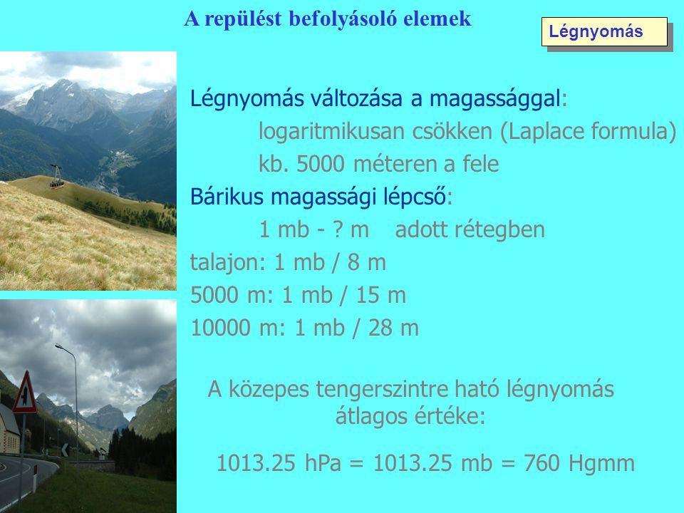 Légnyomás változása a magassággal: logaritmikusan csökken (Laplace formula) kb. 5000 méteren a fele Bárikus magassági lépcső: 1 mb - ? madott rétegben