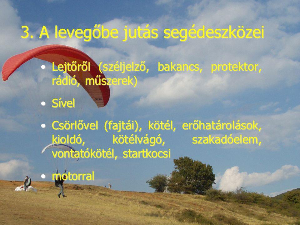 3. A levegőbe jutás segédeszközei Lejtőről (széljelző, bakancs, protektor, rádió, műszerek)Lejtőről (széljelző, bakancs, protektor, rádió, műszerek) S