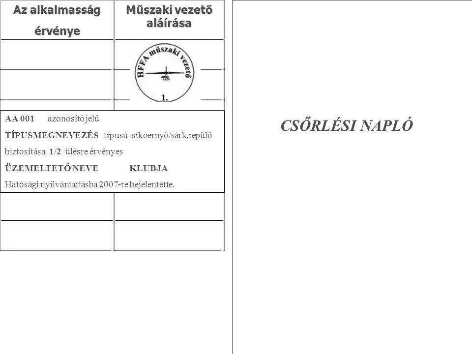Az alkalmasság érvénye Műszaki vezető aláírása AA 001 azonosító jelű TÍPUSMEGNEVEZÉS típusú sikóernyő/sárk.repülő biztosítása 1/2 ülésre érvényes ÜZEM