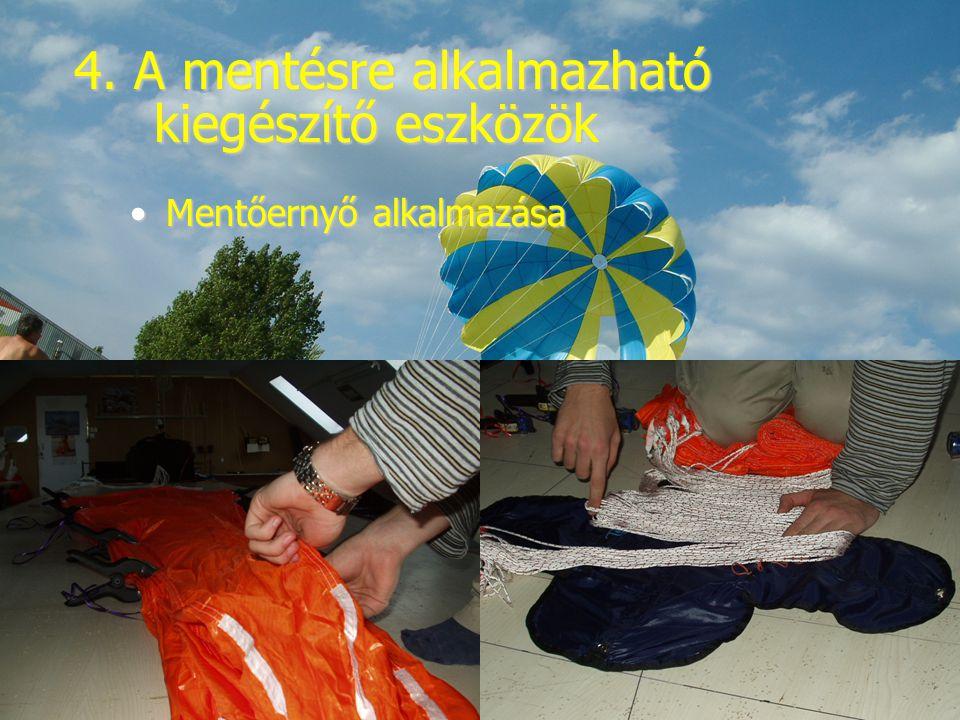 4. A mentésre alkalmazható kiegészítő eszközök Mentőernyő alkalmazásaMentőernyő alkalmazása