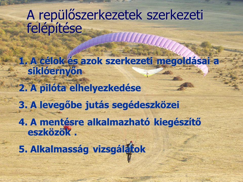 A repülőszerkezetek szerkezeti felépítése 1. A célok és azok szerkezeti megoldásai a siklóernyőn 2. A pilóta elhelyezkedése 3. A levegőbe jutás segéde