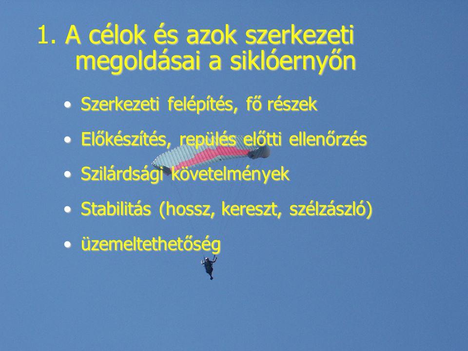 Szerkezeti felépítés, fő részek Kupola (cellák, profil, fül, varrás)Kupola (cellák, profil, fül, varrás) Zsinórzat (A,B,C,D, fék, gyorsító, trimm)Zsinórzat (A,B,C,D, fék, gyorsító, trimm) Csatoló elemek (karabiner, kötelek, kioldók, tépőzárak, csigák)Csatoló elemek (karabiner, kötelek, kioldók, tépőzárak, csigák) Beülő (zsebek, konténerek, zippek, tippek)Beülő (zsebek, konténerek, zippek, tippek)