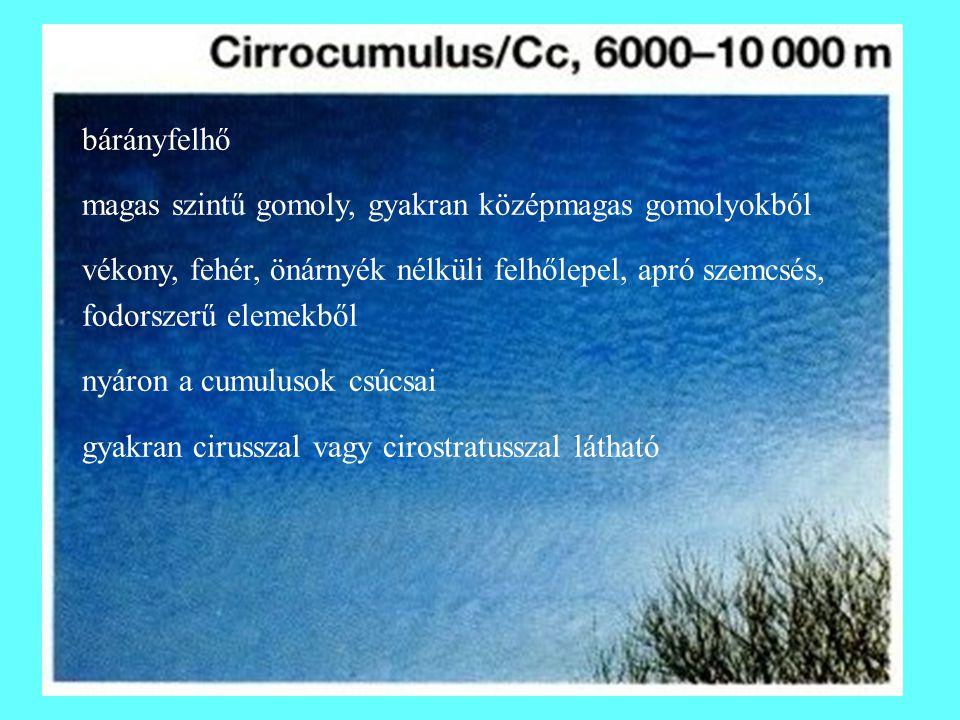 bárányfelhő magas szintű gomoly, gyakran középmagas gomolyokból vékony, fehér, önárnyék nélküli felhőlepel, apró szemcsés, fodorszerű elemekből nyáron a cumulusok csúcsai gyakran cirusszal vagy cirostratusszal látható