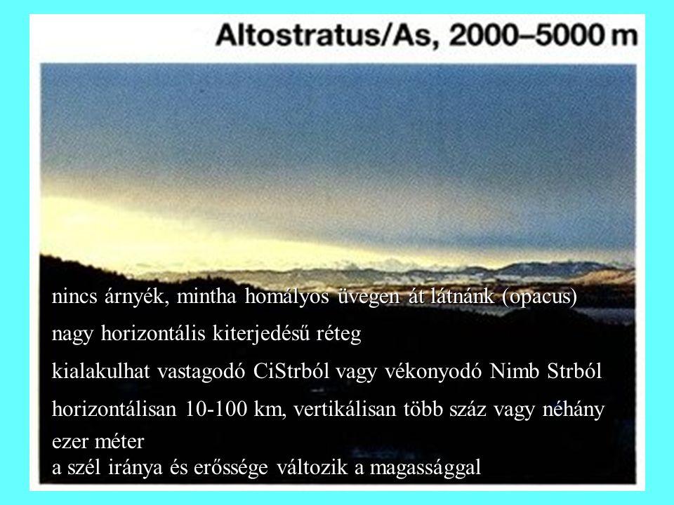 nincs árnyék, mintha homályos üvegen át látnánk (opacus) nagy horizontális kiterjedésű réteg kialakulhat vastagodó CiStrból vagy vékonyodó Nimb Strból horizontálisan 10-100 km, vertikálisan több száz vagy néhány ezer méter a szél iránya és erőssége változik a magassággal