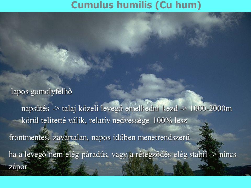 Cumulus humilis (Cu hum) lapos gomolyfelhő lapos gomolyfelhő napsütés -> talaj közeli levegő emelkedni kezd -> 1000-2000m körül telítetté válik, relatív nedvessége 100% lesz frontmentes, zavartalan, napos időben menetrendszerű ha a levegő nem elég páradús, vagy a rétegződés elég stabil -> nincs zápor