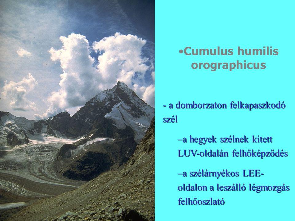 Cumulus humilis orographicus - a domborzaton felkapaszkodó szél –a hegyek szélnek kitett LUV-oldalán felhőképződés –a szélárnyékos LEE- oldalon a leszálló légmozgás felhőoszlató