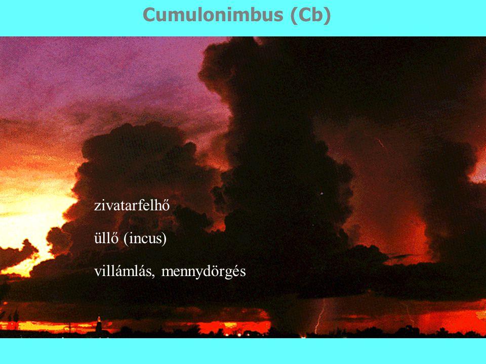 zivatarfelhő üllő (incus) villámlás, mennydörgés Cumulonimbus (Cb)