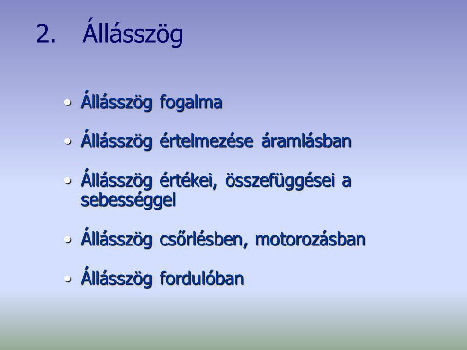 2. Állásszög Állásszög fogalmaÁllásszög fogalma Állásszög értelmezése áramlásbanÁllásszög értelmezése áramlásban Állásszög értékei, összefüggései a se