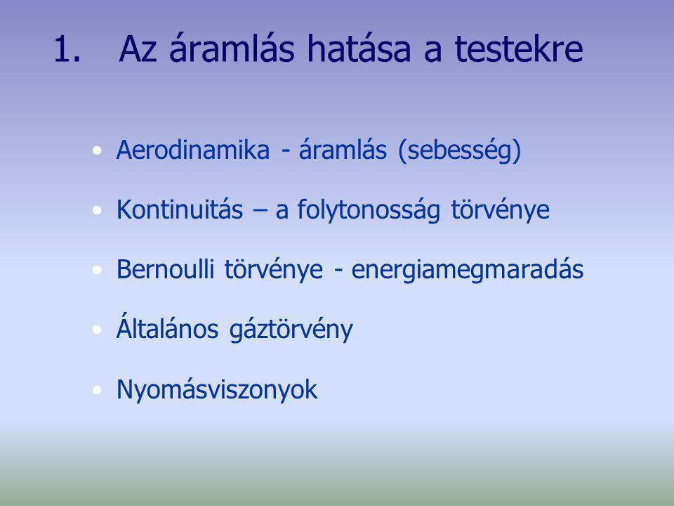 1. Az áramlás hatása a testekre Aerodinamika - áramlás (sebesség) Kontinuitás – a folytonosság törvénye Bernoulli törvénye - energiamegmaradás Általán