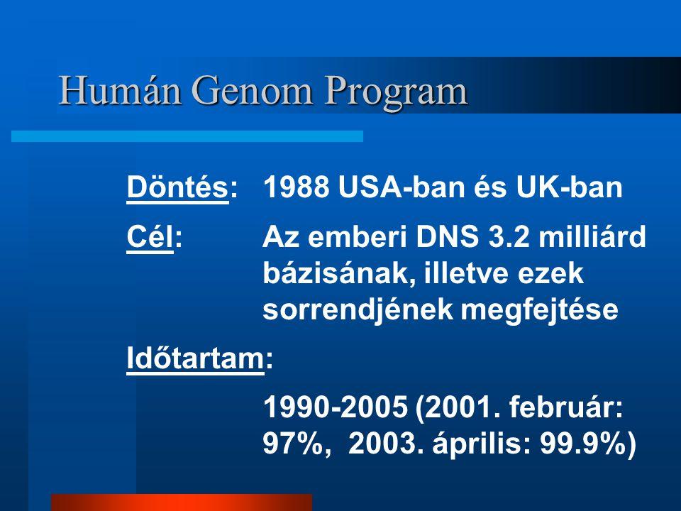 Humán Genom Program Döntés:1988 USA-ban és UK-ban Cél: Az emberi DNS 3.2 milliárd bázisának, illetve ezek sorrendjének megfejtése Időtartam: 1990-2005
