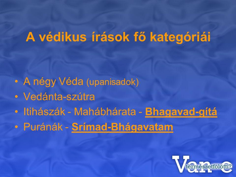 A védikus írások fő kategóriái A négy Véda (upanisadok) Vedánta-szútra Itihászák - Mahábhárata - Bhagavad-gítá Puránák - Srímad-Bhágavatam