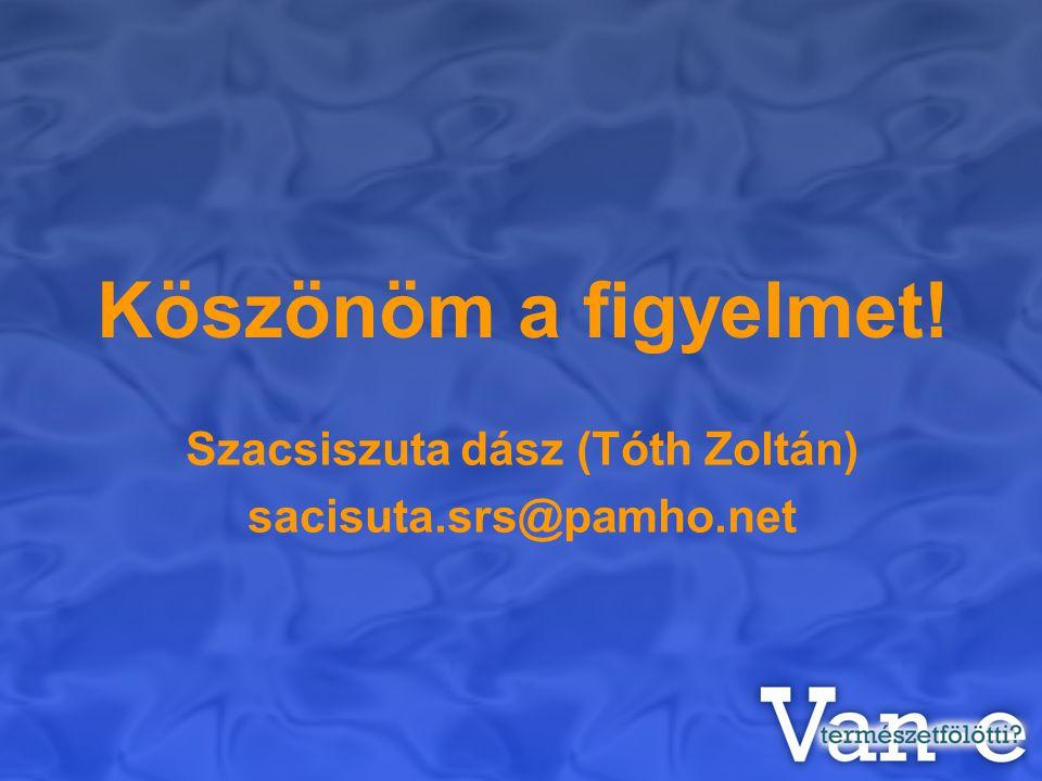 Köszönöm a figyelmet! Szacsiszuta dász (Tóth Zoltán) sacisuta.srs@pamho.net
