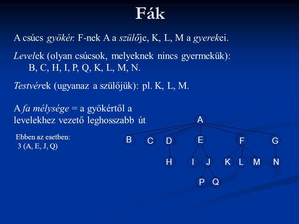 Fák A csúcs gyökér. F-nek A a szülője, K, L, M a gyerekei. Levelek (olyan csúcsok, melyeknek nincs gyermekük): B, C, H, I, P, Q, K, L, M, N. Testvérek