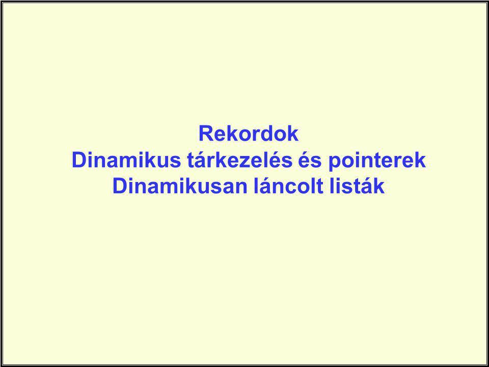 Rekordok Dinamikus tárkezelés és pointerek Dinamikusan láncolt listák