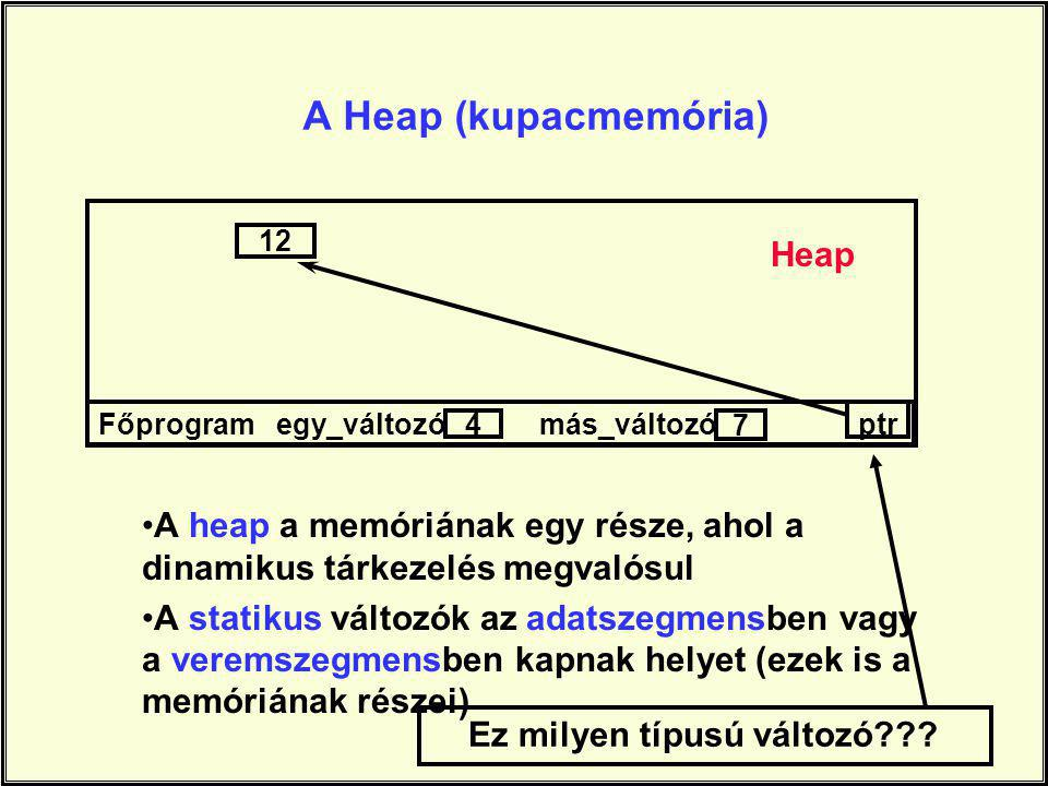 A Heap (kupacmemória) Főprogram egy_változó más_változó ptr 4 7 12 A heap a memóriának egy része, ahol a dinamikus tárkezelés megvalósul A statikus változók az adatszegmensben vagy a veremszegmensben kapnak helyet (ezek is a memóriának részei) Ez milyen típusú változó??.