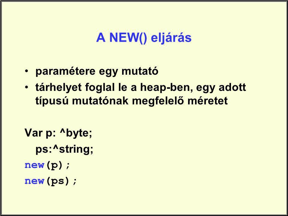 A NEW() eljárás paramétere egy mutató tárhelyet foglal le a heap-ben, egy adott típusú mutatónak megfelelő méretet Var p: ^byte; ps:^string; new(p); n