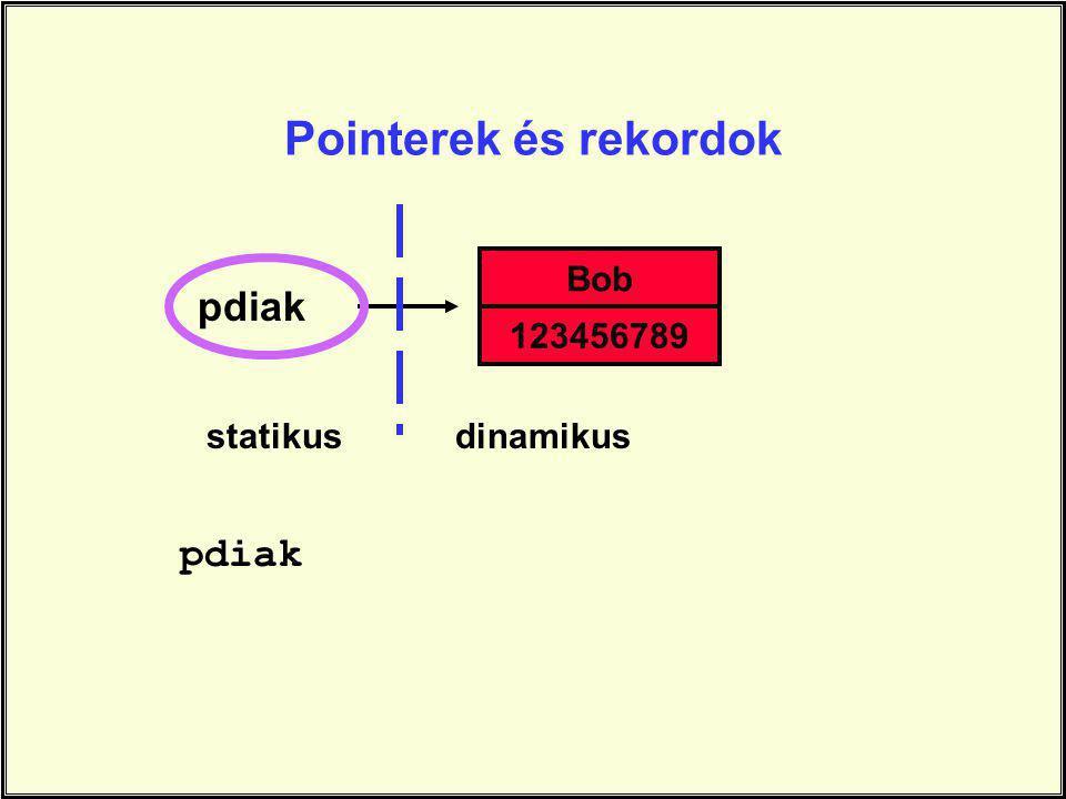 Pointerek és rekordok pdiak Bob 123456789 statikusdinamikus pdiak