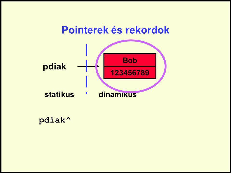 pdiak^ Bob 123456789 statikusdinamikus Pointerek és rekordok