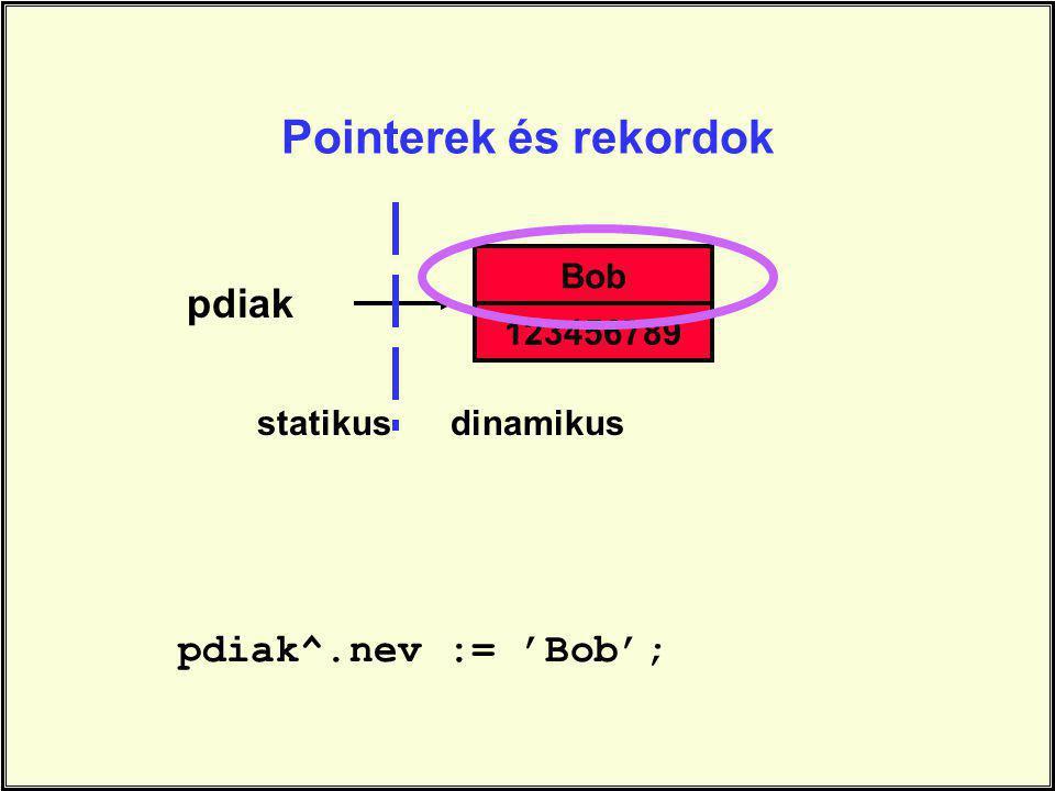 pdiak pdiak^.nev := 'Bob'; Bob 123456789 statikusdinamikus Pointerek és rekordok