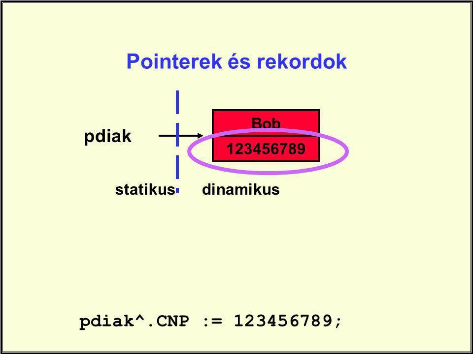 pdiak pdiak^.CNP := 123456789; Bob 123456789 statikusdinamikus Pointerek és rekordok