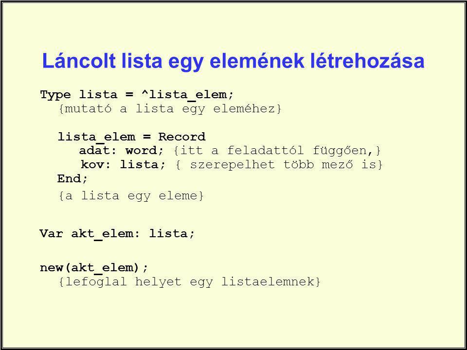 Láncolt lista egy elemének létrehozása Type lista = ^lista_elem; {mutató a lista egy eleméhez} lista_elem = Record adat: word; {itt a feladattól függő