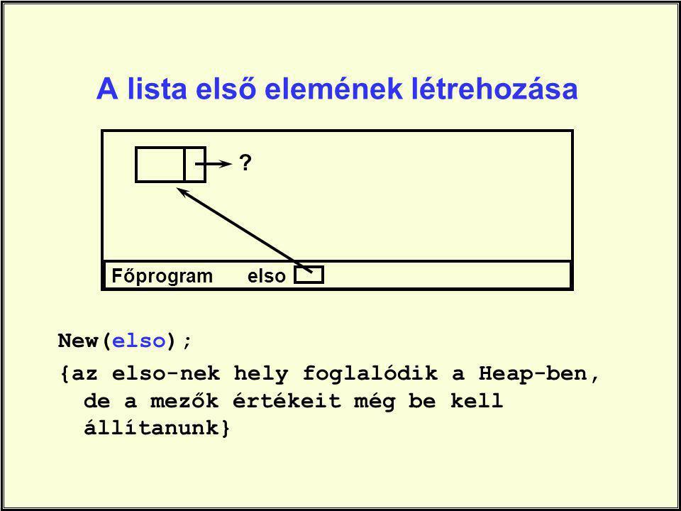A lista első elemének létrehozása New(elso); {az elso-nek hely foglalódik a Heap-ben, de a mezők értékeit még be kell állítanunk} Főprogram elso ?