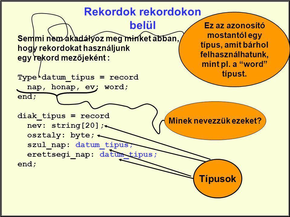 Rekordok rekordokon belül Semmi nem akadályoz meg minket abban, hogy rekordokat használjunk egy rekord mezőjeként : Type datum_tipus = record nap, honap, ev: word; end; diak_tipus = record nev: string[20]; osztaly: byte; szul_nap: datum_tipus; erettsegi_nap: datum_tipus; end; Ez az azonosító mostantól egy típus, amit bárhol felhasználhatunk, mint pl.