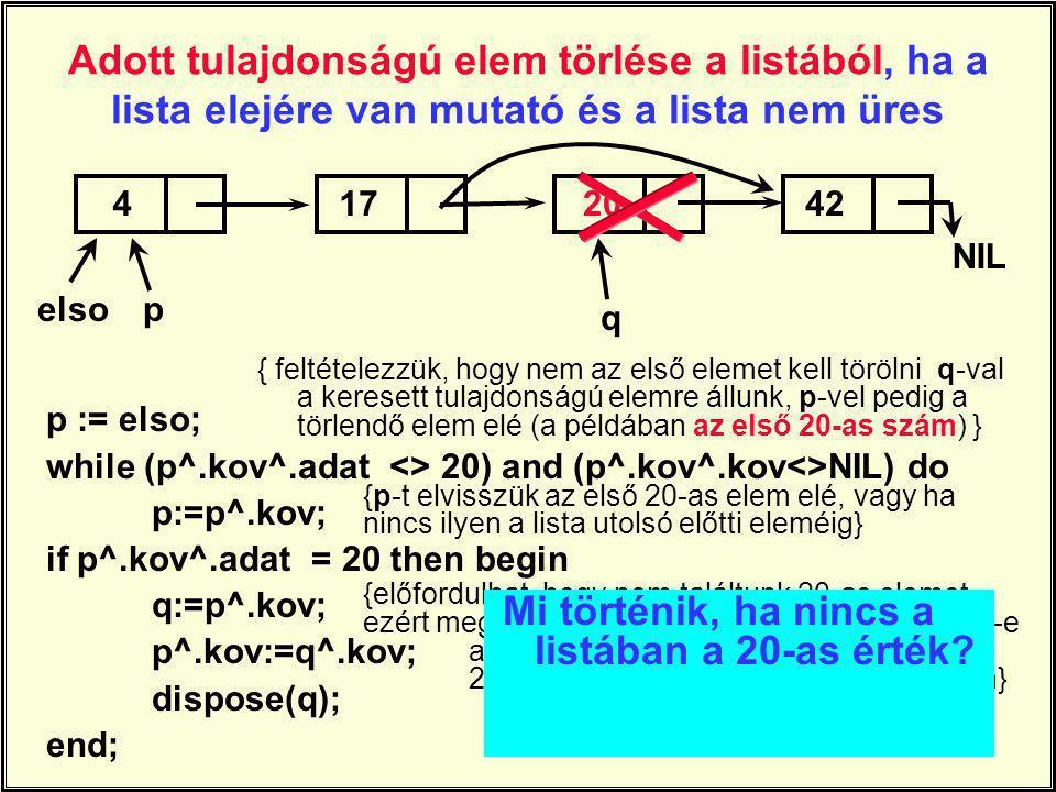 Adott tulajdonságú elem törlése a listából, ha a lista elejére van mutató és a lista nem üres p := elso; while (p^.kov^.adat <> 20) and (p^.kov^.kov<>NIL) do p:=p^.kov; if p^.kov^.adat = 20 then begin q:=p^.kov; p^.kov:=q^.kov; dispose(q); end; 41742 NIL elsop 20 q { feltételezzük, hogy nem az első elemet kell törölni q-val a keresett tulajdonságú elemre állunk, p-vel pedig a törlendő elem elé (a példában az első 20-as szám) } {p-t elvisszük az első 20-as elem elé, vagy ha nincs ilyen a lista utolsó előtti eleméig} {előfordulhat, hogy nem találtunk 20-as elemet, ezért megvizsgáljuk, hogy a lista végén vagyunk-e a p következőjével.