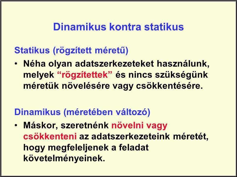 Dinamikus kontra statikus Statikus (rögzített méretű) Néha olyan adatszerkezeteket használunk, melyek rögzítettek és nincs szükségünk méretük növelésére vagy csökkentésére.