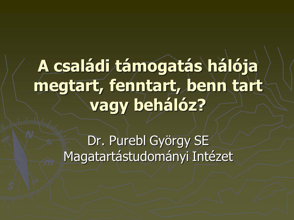A családi támogatás hálója megtart, fenntart, benn tart vagy behálóz? Dr. Purebl György SE Magatartástudományi Intézet