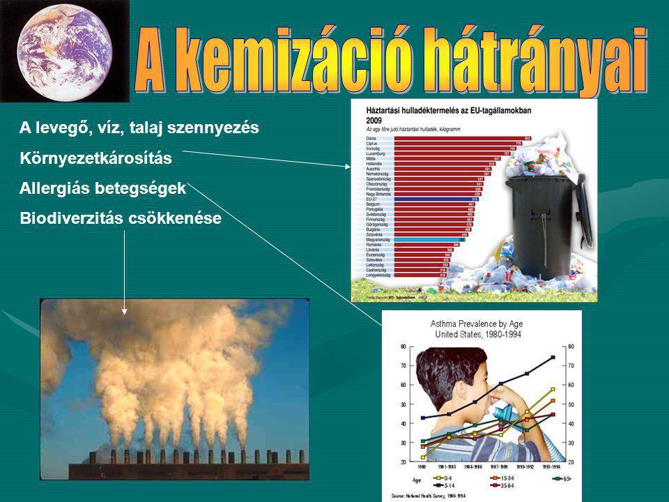 A levegő, víz, talaj szennyezés Környezetkárosítás Allergiás betegségek Biodiverzitás csökkenése