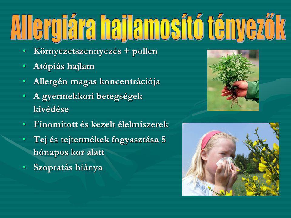 Környezetszennyezés + pollenKörnyezetszennyezés + pollen Atópiás hajlamAtópiás hajlam Allergén magas koncentrációjaAllergén magas koncentrációja A gye