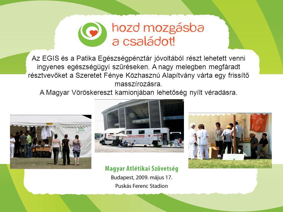 Az EGIS és a Patika Egészségpénztár jóvoltából részt lehetett venni ingyenes egészségügyi szűréseken. A nagy melegben megfáradt résztvevőket a Szerete
