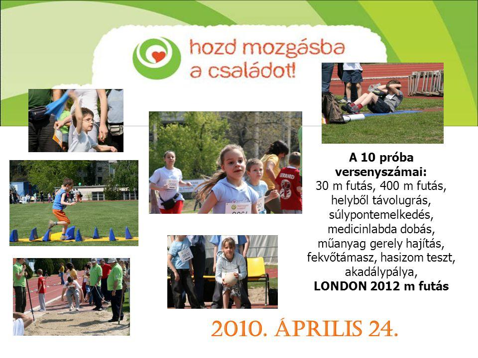 A 10 próba versenyszámai: 30 m futás, 400 m futás, helyből távolugrás, súlypontemelkedés, medicinlabda dobás, műanyag gerely hajítás, fekvőtámasz, hasizom teszt, akadálypálya, LONDON 2012 m futás 2010.