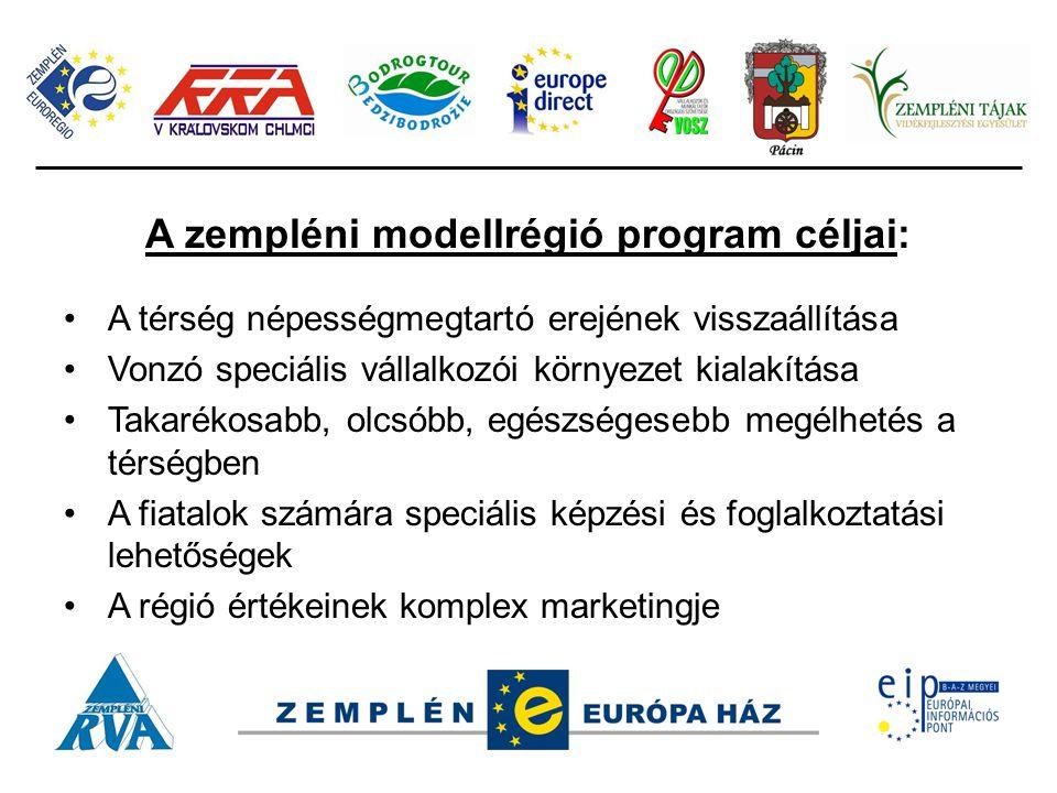 A zempléni modellrégió program céljai: A térség népességmegtartó erejének visszaállítása Vonzó speciális vállalkozói környezet kialakítása Takarékosabb, olcsóbb, egészségesebb megélhetés a térségben A fiatalok számára speciális képzési és foglalkoztatási lehetőségek A régió értékeinek komplex marketingje