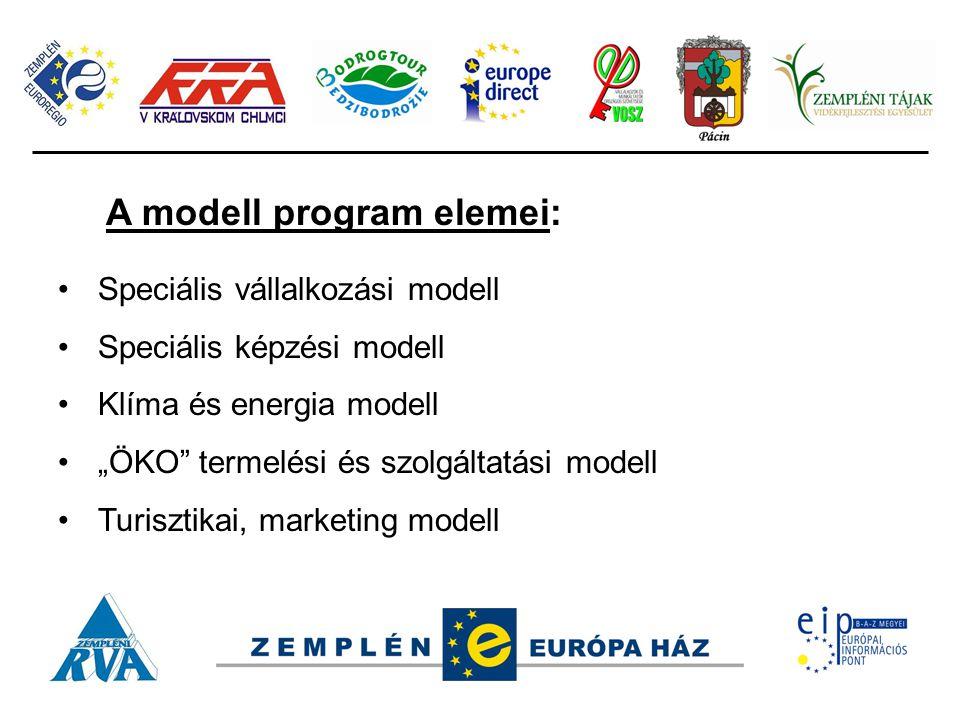 """A modell program elemei: Speciális vállalkozási modell Speciális képzési modell Klíma és energia modell """"ÖKO termelési és szolgáltatási modell Turisztikai, marketing modell"""