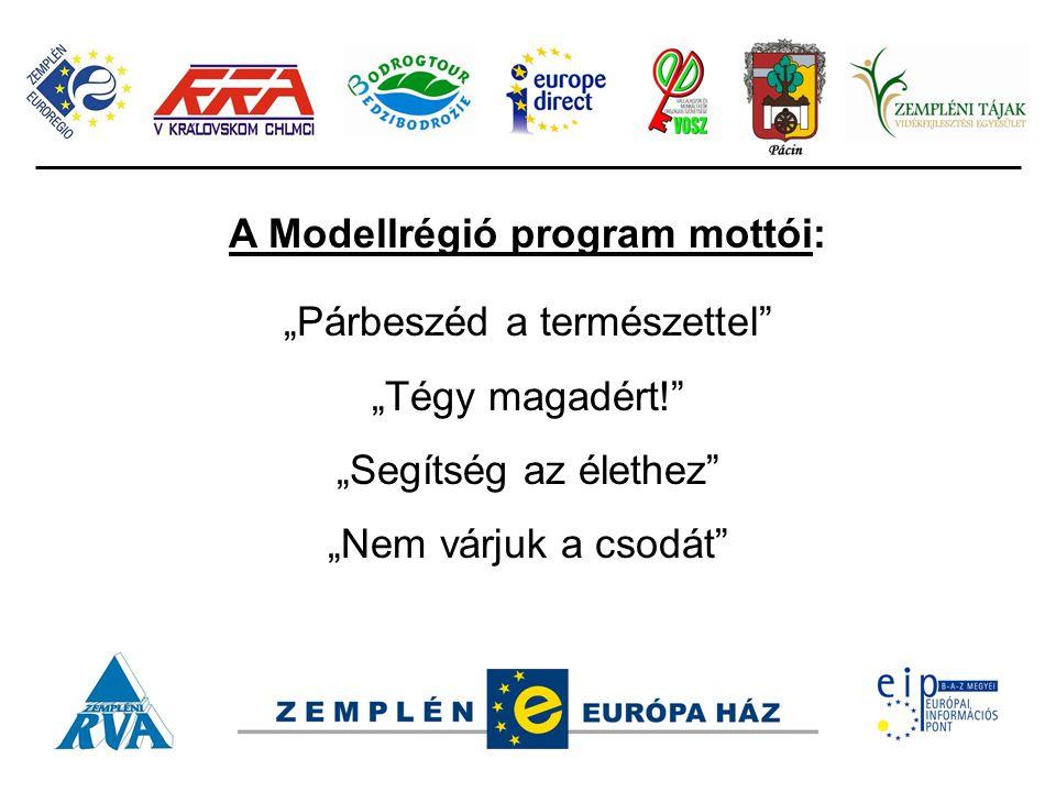 """A Modellrégió program mottói: """"Párbeszéd a természettel"""" """"Tégy magadért!"""" """"Segítség az élethez"""" """"Nem várjuk a csodát"""""""