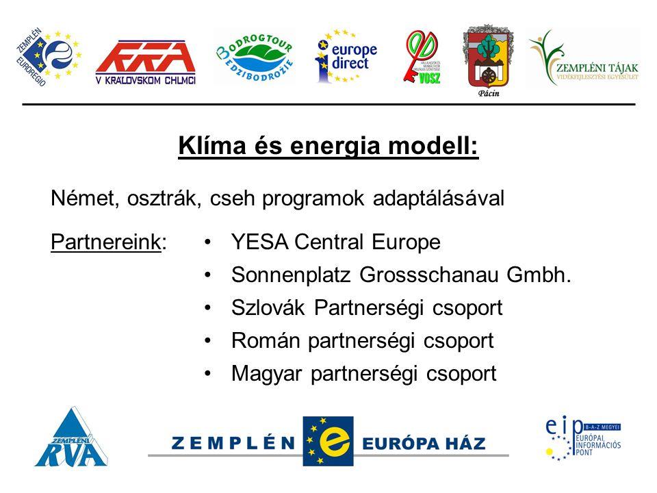 Klíma és energia modell: Német, osztrák, cseh programok adaptálásával Partnereink:YESA Central Europe Sonnenplatz Grossschanau Gmbh. Szlovák Partnersé