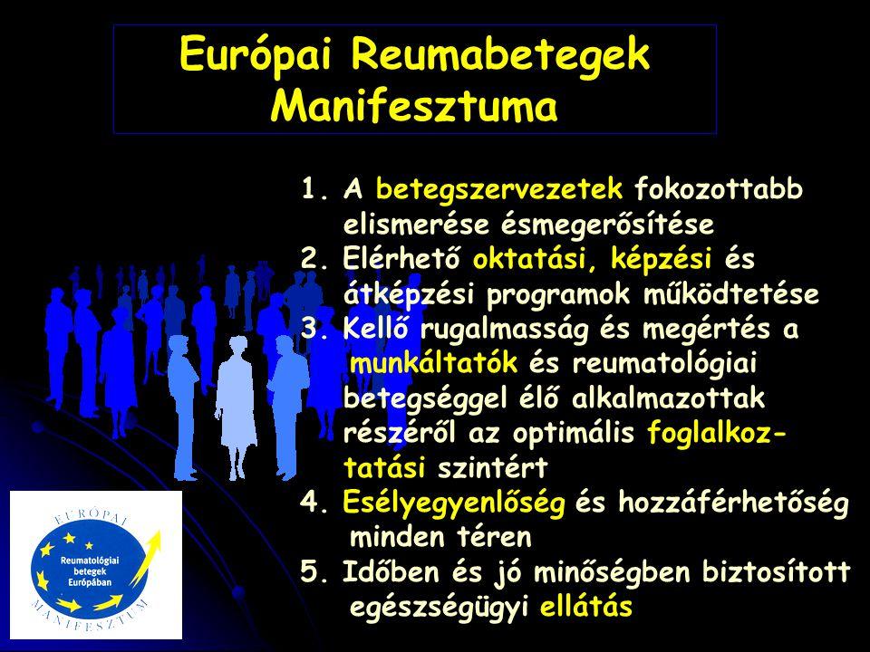 Európai Reumabetegek Manifesztuma 1. A betegszervezetek fokozottabb elismerése ésmegerősítése 2. Elérhető oktatási, képzési és átképzési programok műk