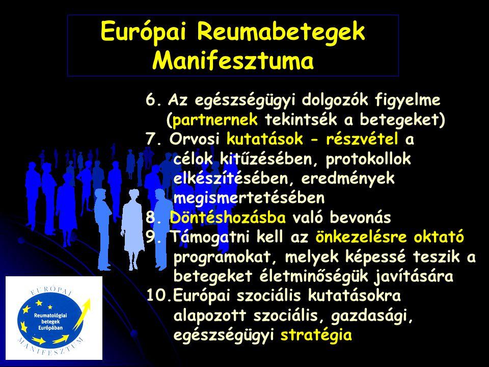 Európai Reumabetegek Manifesztuma 6. Az egészségügyi dolgozók figyelme (partnernek tekintsék a betegeket) 7. Orvosi kutatások - részvétel a célok kitű
