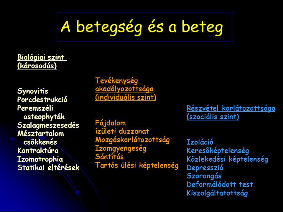 Biológiai szint (károsodás) Synovitis Porcdestrukció Peremszéli osteophyták Szalagmeszesedés Mésztartalom csökkenés Kontraktúra Izomatrophia Statikai
