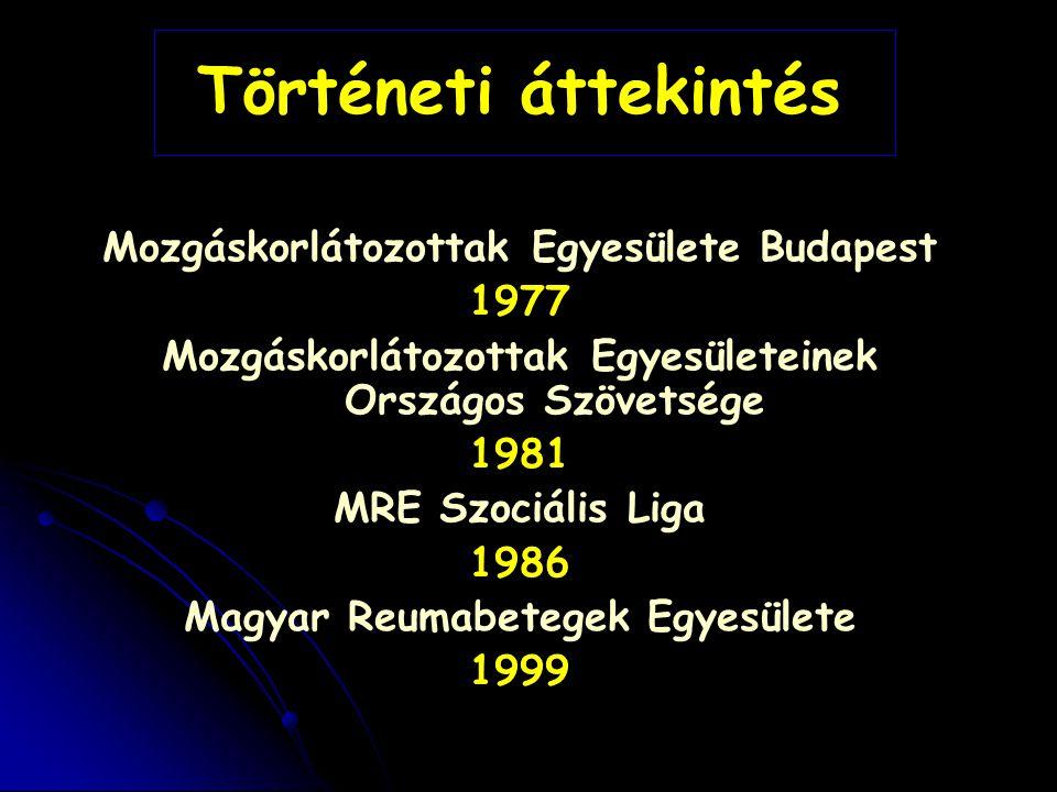 Történeti áttekintés Mozgáskorlátozottak Egyesülete Budapest 1977 Mozgáskorlátozottak Egyesületeinek Országos Szövetsége 1981 MRE Szociális Liga 1986