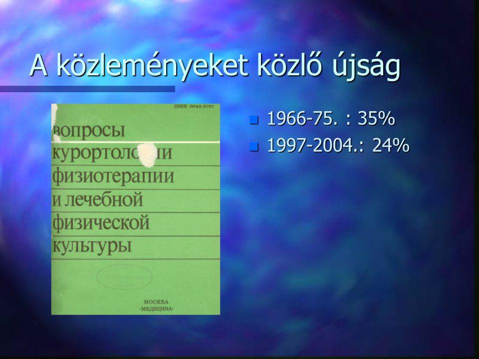 A közleményeket közlő újság n 1966-75. : 35% n 1997-2004.: 24%