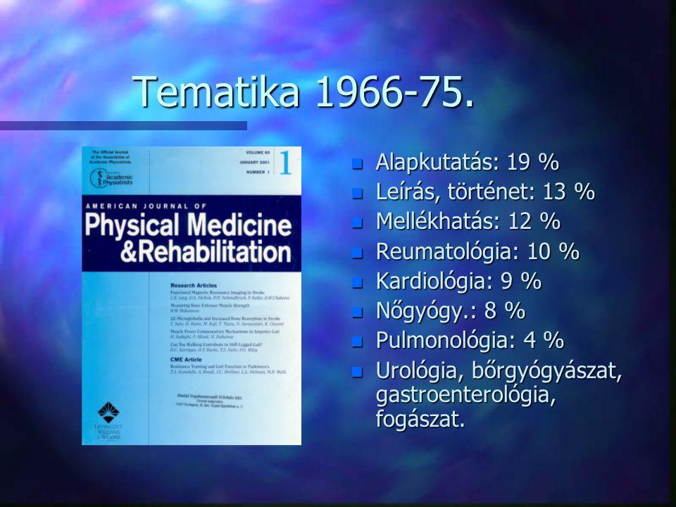 Tematika 1966-75. n Alapkutatás: 19 % n Leírás, történet: 13 % n Mellékhatás: 12 % n Reumatológia: 10 % n Kardiológia: 9 % n Nőgyógy.: 8 % n Pulmonoló